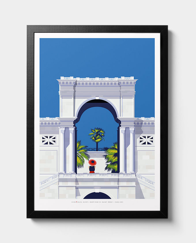 bastione cagliari architecture woman summer sardinia room wall art interior design italian vintage travel posters places