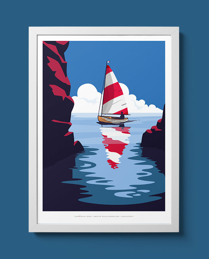 grotte caves carloforte summer room wall art interior design italian vintage travel posters places