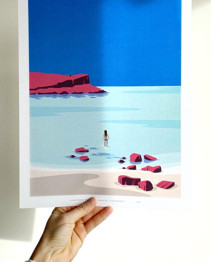 Stampa_Carloforte_la-caletta_isola-di-san-pietro_poster-illustration_travel-poster_travel