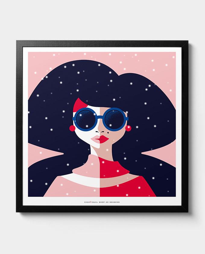 winter woman posters women seasons room interior design wall art design