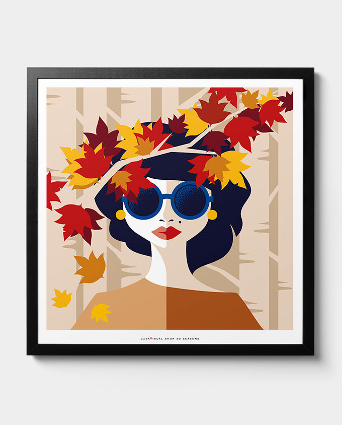 Autumn woman posters women seasons room interior design wall art design