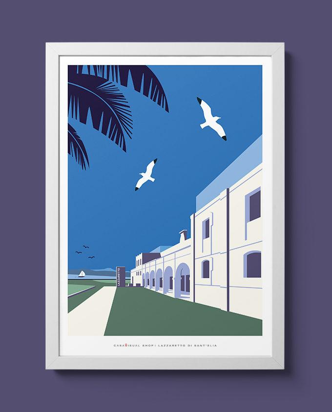 lazzaretto cagliari architecture summer sardinia room wall art interior design vintage travel posters places