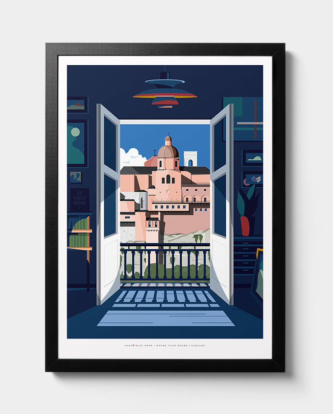 vista skyline cagliari architecture summer sardinia room wall art interior design vintage travel posters places pink sardinia