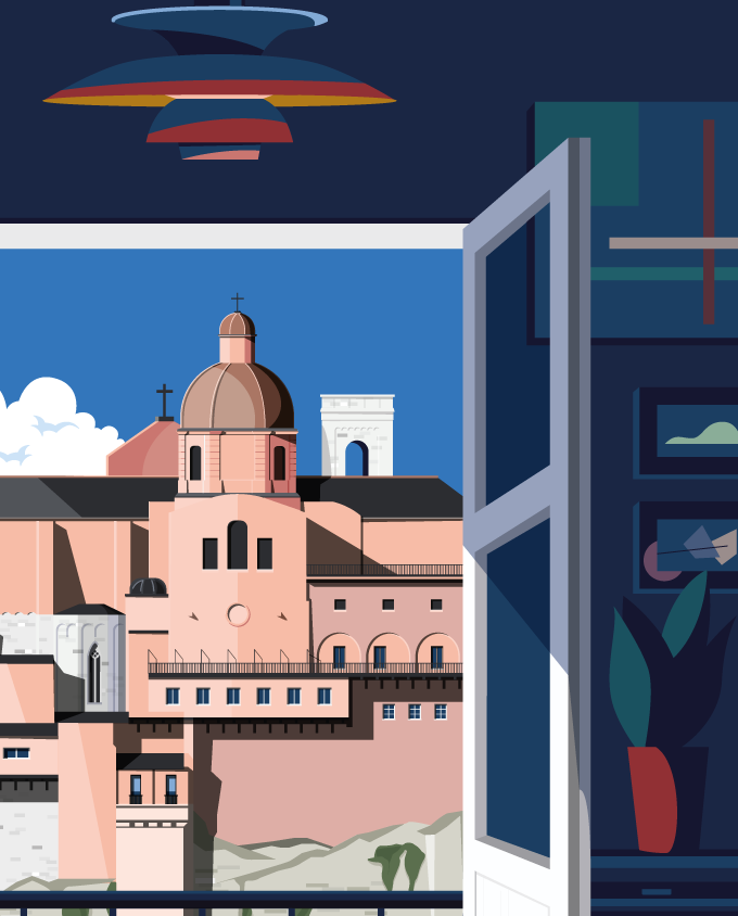 vista skyline cagliari architecture summer sardinia room wall art interior design vintage travel posters places pink sardinia