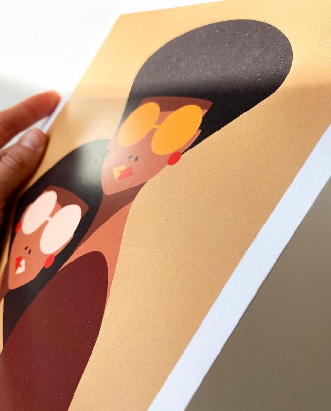 Poster illustrazione digitale su carta perlata