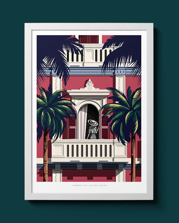 vista via roma cagliari architecture summer sardinia room wall art interior design vintage travel posters places pink sardinia