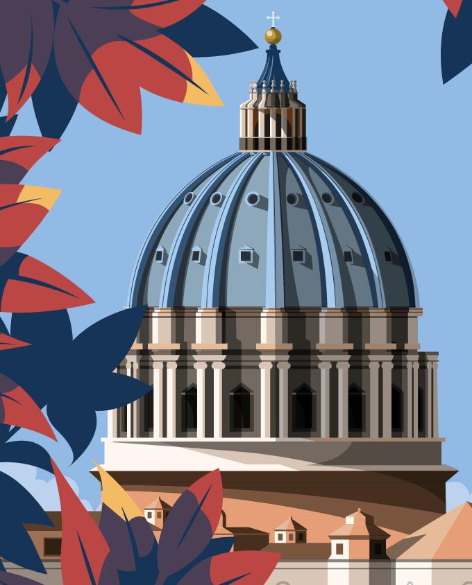 Basilica San Pietro, Roma St. Peter Basilica, Rome room wall art interior design italian vintage travel posters