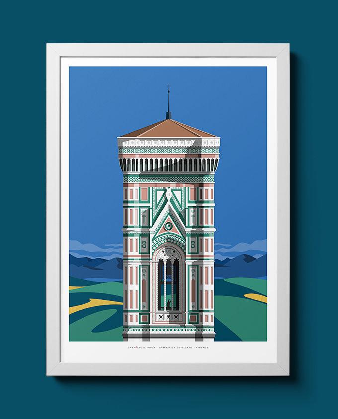 Immagine del campanile di Giotto illustrato nella serie travel poster con cornice bianca