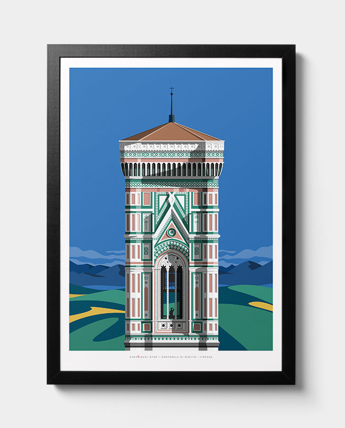 Campanile Giotto Florence, room wall art interior design italian vintage travel posters