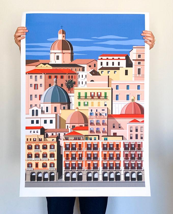 Travel poster wall decor about Cagliari city