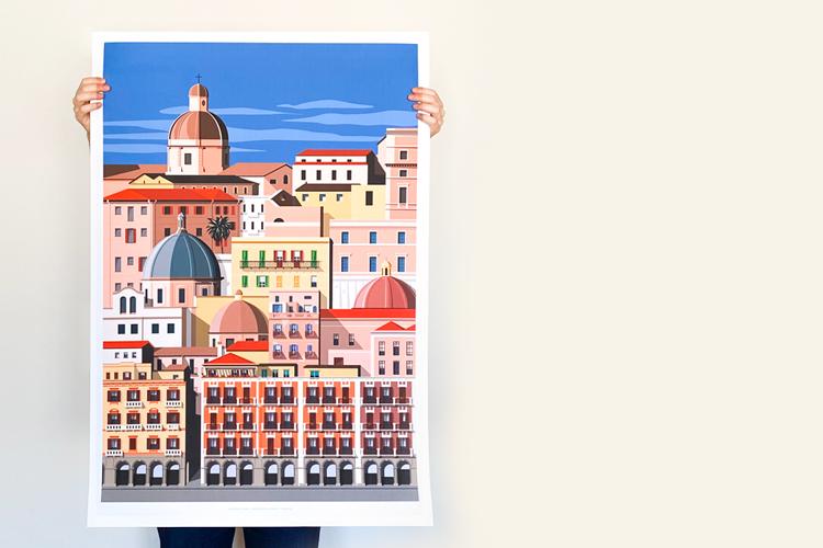 Casavisualshop_travel-poster_Cagliari_la-marina_sardinia