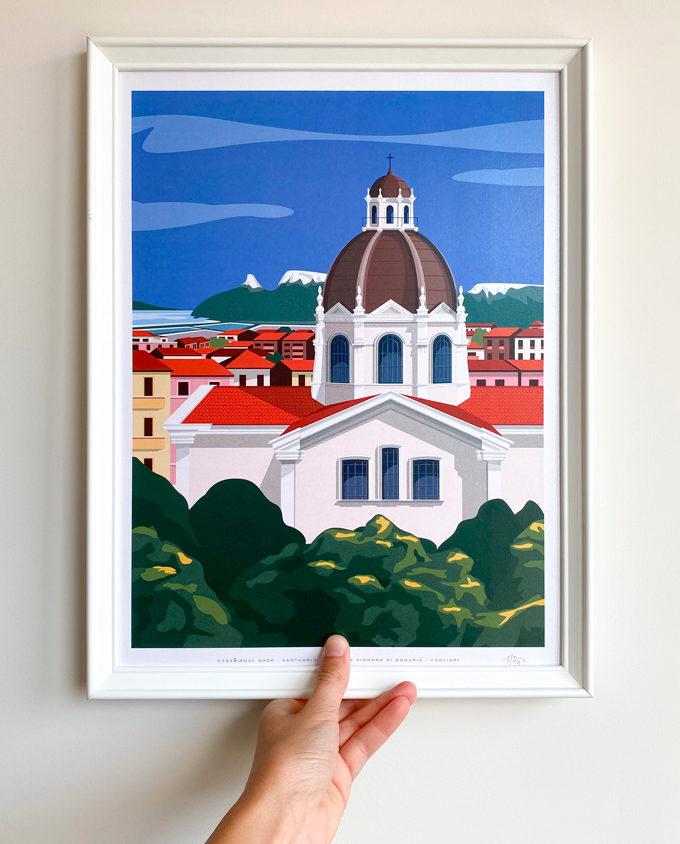 Poster illustrato che mostra la basilica di Bonaria di Cagliari in primo piano con dietro la sella del Diavolo e tutta il quartiere di Bonaria.