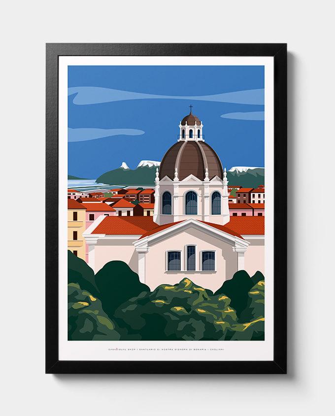 Veduta sulla Basilica Di Bonaria Cagliari sullo sfondo la Sella Del Diavolo