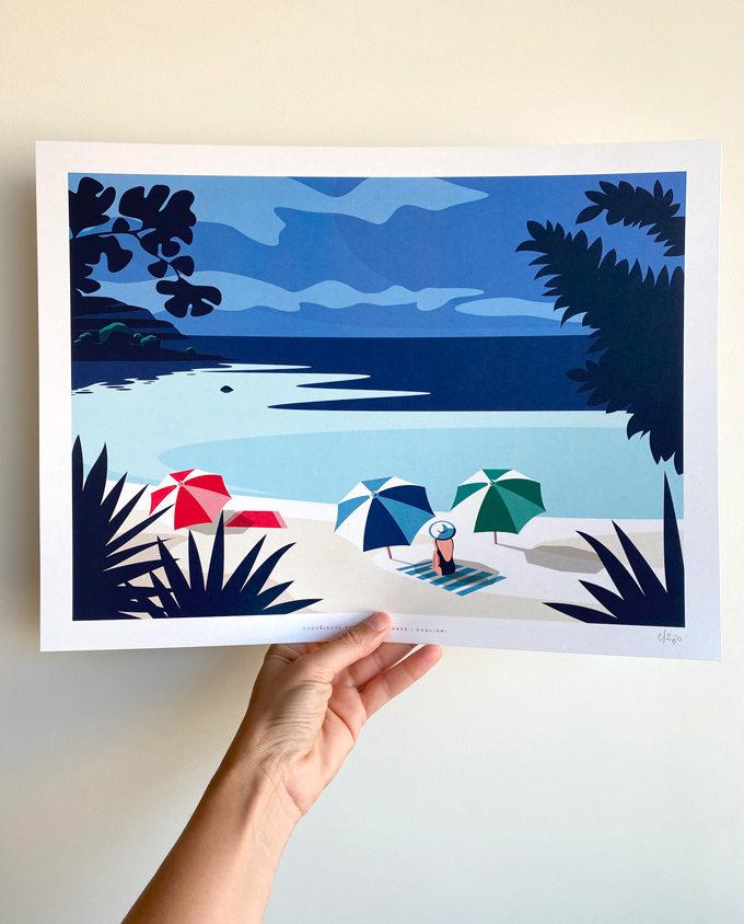Illustrazione Spiaggia di Calamosca formato 30x40 cm