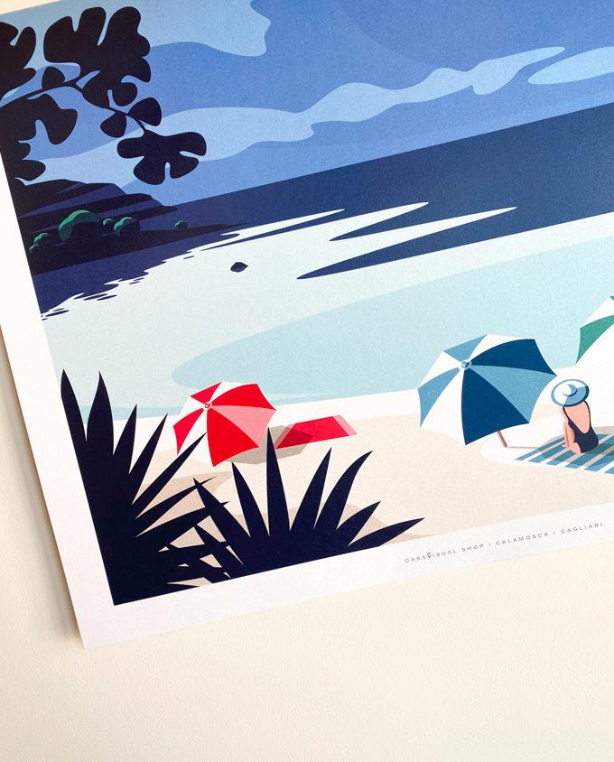 Particolari illustrati del Travel Poster su Calamosca Cagliari Sardegna Italia estate