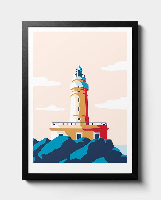 Isola di San Pietro Faro di Capo Sandalo Illustrazione Poster Travel Poster