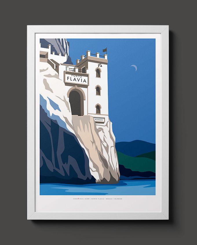 Travel poster wall decor home frame illustrazione Porto Flavia
