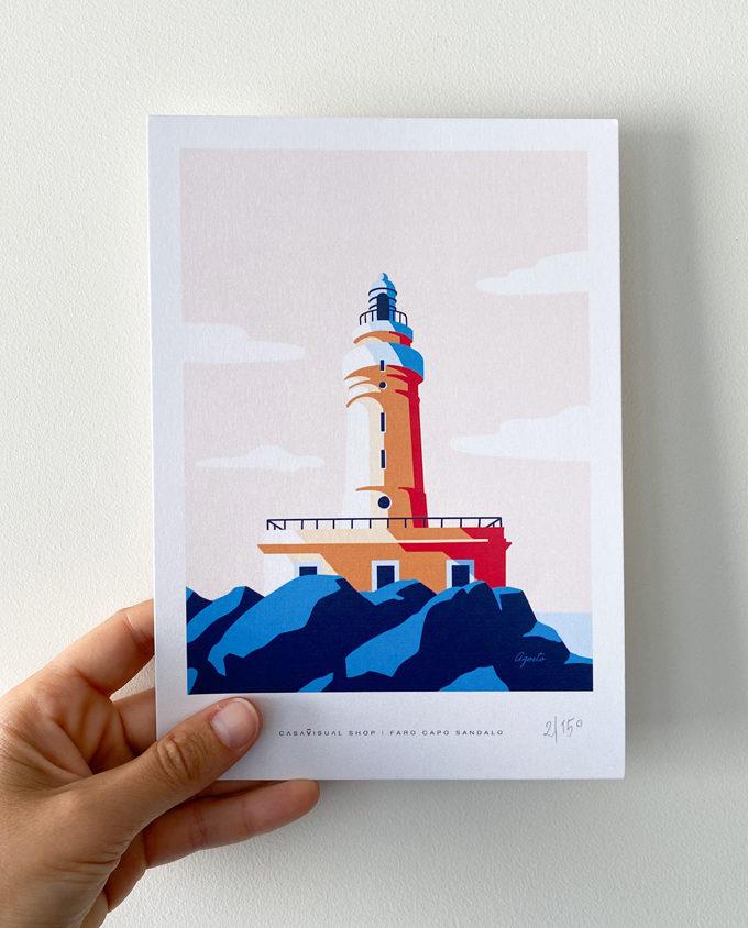 Poster piccolo formato A5 sul Faro di Capo Sandalo