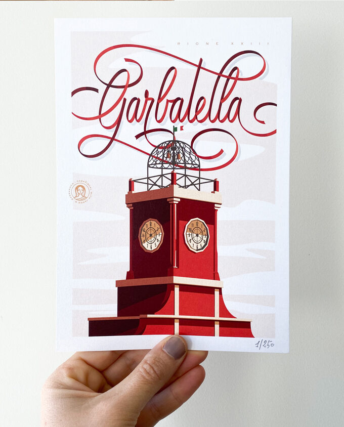 Digital illustration about Garbatella Roma Printed for your wall design inpiration