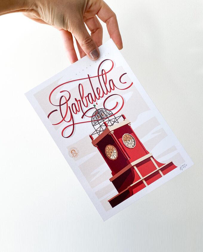 Garbatella_roma_Digital-Illustration_Poster-design_Italy_vintage-travel-poster_albergo-rosso_Wall-art-design
