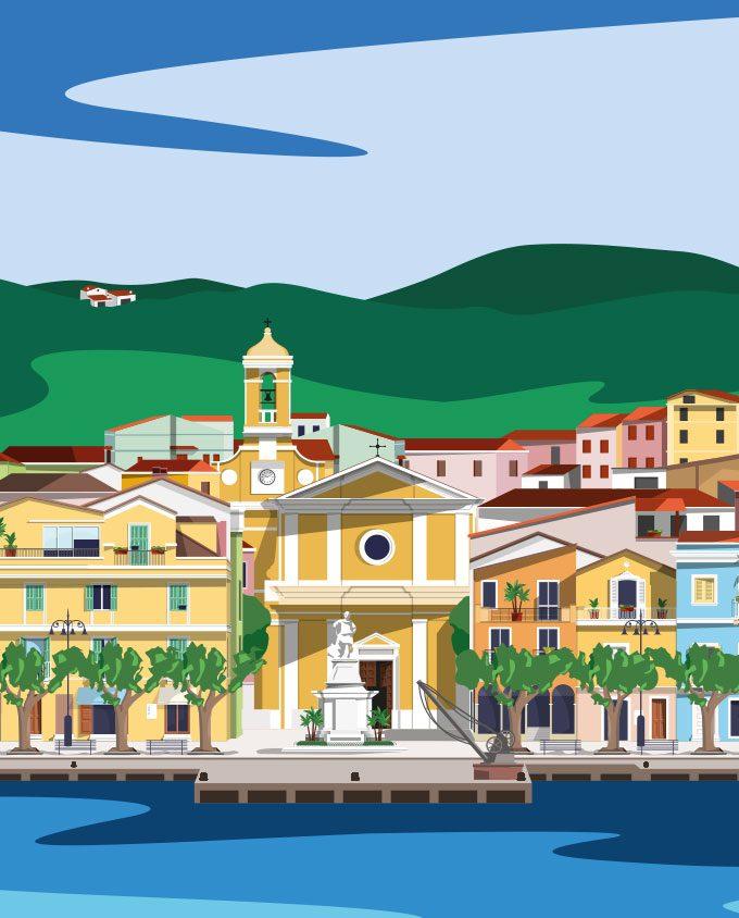 illustrazione poster di Carloforte Borgo della Sardegna