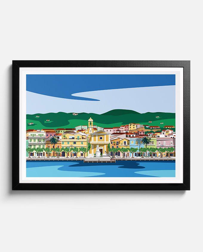 poster illustrato di Carloforte paese dell'isola di San Pietro