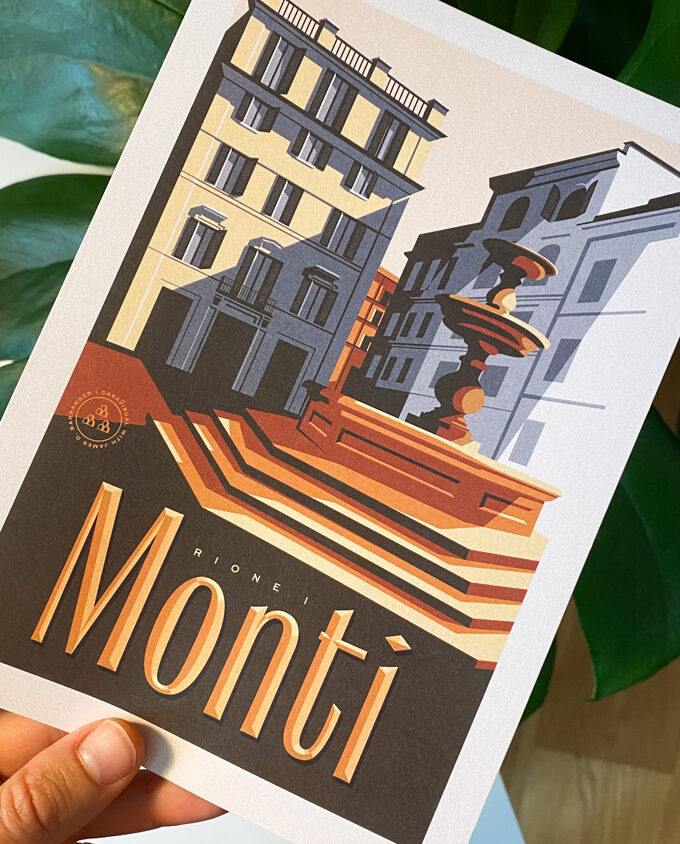 Monti_roma_travel-poster_Digital-Art_Italy_vintage-travel-poster_albergo-rosso_Wall-art-design