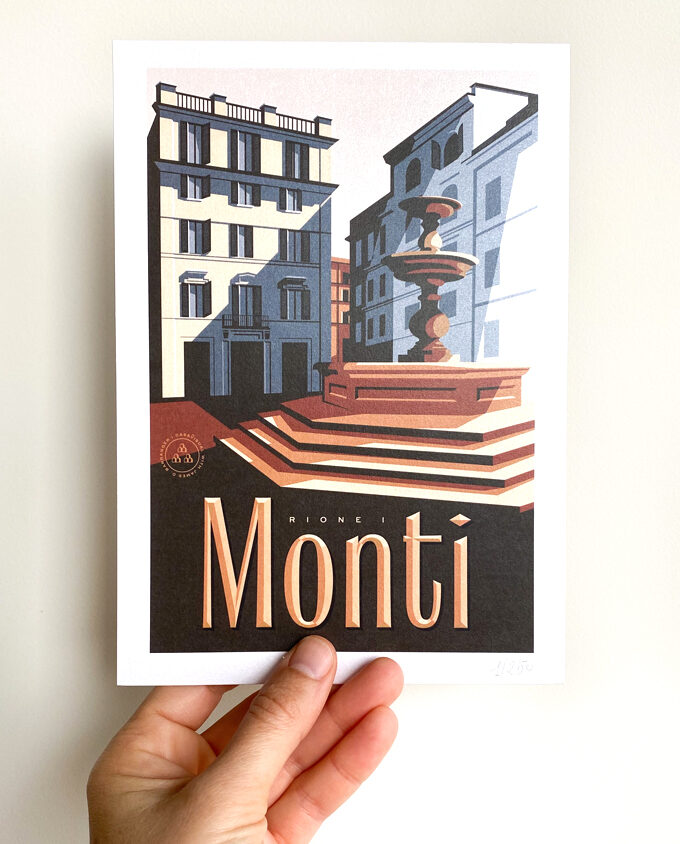 Monti_roma_travel-poster_Poster-design_Italy_vintage-travel-poster_albergo-rosso_Wall-art-design